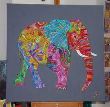 XL Elefant bunt Acryl Kunst Leinwand Bild Modern POP ART GEMÄLDE Silberstreif