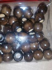 12 PKS of 36 brown wood dreadlock braid bracelets hair Extension crafts beads