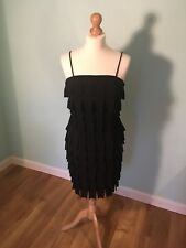 BNWT US4/UK8 20s Flapper Style Ribbon Pleat Spaghetti Strap Stretchy Black Dress