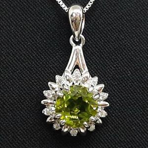 World Class 2.60ctw Peridot & Diamond Cut White Sapphire 925 Silver Pendant