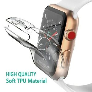 Transparent Cover Case for Apple Watch Series 6/5/4/3/2/1 360 Full Soft Clear