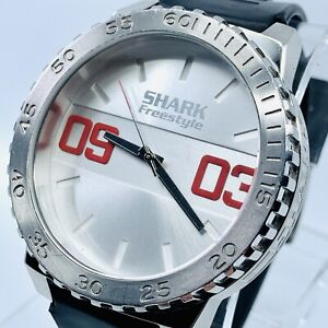 XL BOLD Shark Freestyle Men's Watch 49mm Stainless w/ Rubber Strap Nice!!