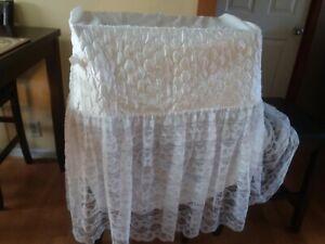 Fine Art Pillow Co.   Bassinet Cradle SKIRT Lace Quilted Satin Vintage.