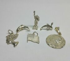 6 Solid Sterling Silver Charms for Bracelet or Pendants