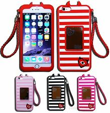 Devil w Horns Halloween Silicone Case w Straps & Mirror For iPhone 6/6 Plus Cute