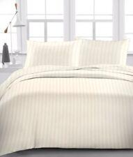 "Egyptian Cotton 800 TC Ivory  Stripe  Sheet Set/Duvet/Fitted/Pillow 15"" Drop"