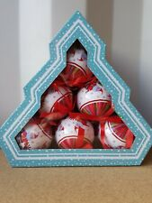 The Book People Christmas Baubles Santa, Gift Box Of 6 Plastic Baubles
