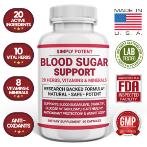 Blood Sugar Supplement, Ultra Diabetic Support Formula 600mg 20 Herb w Cinnamon