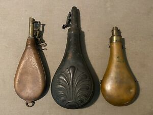 Lot of Three 3 Antique Powder Flasks Leather Shot Pouch Military? Copper/Brass