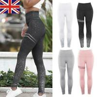 Women Glitter High Waist Push Up Yoga Pants Sports Gym Leggings Fitness Trousers
