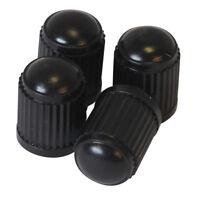 4 x Black Plastic Universal Tyre Alloy Wheel Caps Dust Value Car Bike Cycle New