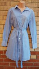 NEW LOOK BLUE WHITE STRIPED BUTTONED COTTON LONG SLEEVE BELTED T SHIRT DRESS 10