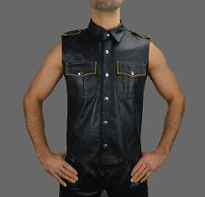 Lederhemd mit Gelben Biesen Leather shirt,Chemise Cuir,Napa Leder Hemd weste M