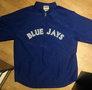 TORONTO BLUE JAYS MLB BASEBALL OFFICIAL MAJESTIC BLUE WINDBREAKER - SIZE