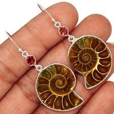 """""""Fossil"""" Ammonite - Madagascar & Garnet 925 Silver Earring Jewelry AE148902"""
