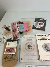 5 counted thread embroidery kits ornaments earrings scissor fob