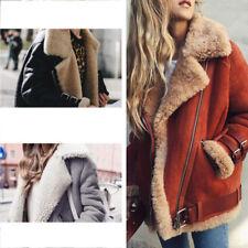 Womens Coat Locomotive Jacket Winter Thick Coat Fur Liner Jacket Coat Outerwear