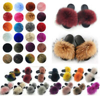 100% Real Fur Flat Shoes Fluffy Flip Flop Slippers Women Slider Sandal Wholesale