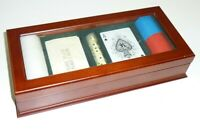 Bombay Company Outlet Playing Cards Set w/ Poker chips and Dice Cherry Wood Box
