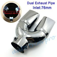 Universal 76mm 3 inch Inlet Rear Muffler Exhaust Tail Tip Pipe Dual Outlet Trim