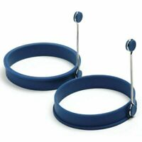 Norpro Nonstick Silicone Round Egg Rings - Blue Pancake Mold Ring w/ Handles