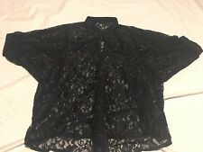 GUESS Top Black lace sheer batwing dolman pullover button down top Med