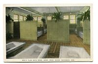 Vintage Postcard WAUKESHA WI Moor Mud Baths Men's Tiled Bath Room