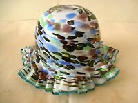 """Vintage Electric Lamp Shade Art Glass Blue Frill Art Deco Colorful Decorative""""F"""
