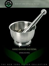 NewlineNY Stainless Steel Hand Masher & Bowl, Mortar and Pestle Set