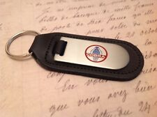 AC COBRA BLACK LEATHER KEY RING FOB ETCHED AND INFILLED