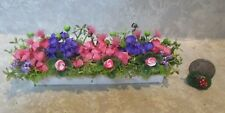 "5"" miniature doll/dollhouse window box/pink/purple/yellow flowers/roses #38"