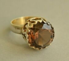 HUGE Scandinavian Modernist BENGT HALLBERG Smokey Quarz Sterling Silver Ring O