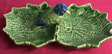 bordallo pinheiro Double Leafed With Blue And Green Bird Olive Dish