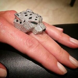 White Round Green Pear Diamond Panther Hip Hop Unisex Ring 925 Sterling Silver