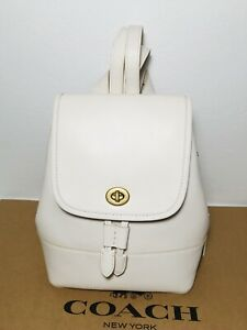 NWT Coach 3334 Chalk Turnlock Backpack in Glovetanned Leather, 1941
