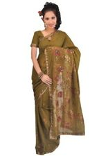 Elegant Embroidered Olive Green Chiffon Saree with Beautiful Over All work