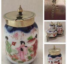 Silver Plated Cruet Stand With Oriental Pattern Porcelain Mustard Salt & Pepper