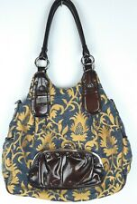 Kathy Van Zeeland Satchel Shoulder Bag Purse Gold Blue Damask Fabric Hobo Chic