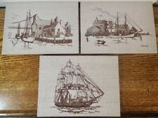 lot of 3 vintage D. Herring Nautical Maritime Ship Pictures on Luan Wood Boards