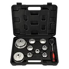 Paper Cartridge Housing Oil Filter Cap Wrench 10-Piece Socket Set Tool Kit +Case