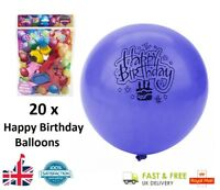 20 x Coloured Latex HAPPY BIRTHDAY Balloons Party Balloon Bag Filler Gift Toy UK