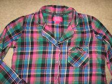 Victoria's Secret Pink Black Green & Metallic Plaid Flannel PJ Pajama Shirt Sz M