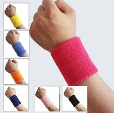 2 x Sports Wrist Sweatbands Tennis Squash Badminton GYM Wristband Gift UK