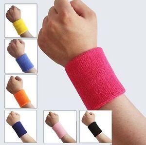 2 x Sports Wrist Sweatbands Tennis Squash Badminton GYM Wristband Gift a Pair
