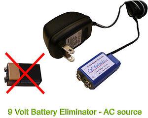 9 Volt Battery Eliminator Power Adapter - Universal Fit - 120 VAC wall source