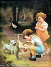Victorian Children~Cairn Terrier Dog~ New Lg Note Cards