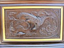antique europian hand carved wood panel framed