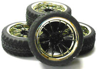 1/10 On Road Soft Tread Car RC Wheel and Tyre Tire Dual 6 Spoke Black x 4