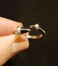 Cubic Zirconia OFFSET SPIKE WRAP RING, Sterling Silver Rhodium-Plated, Size 8