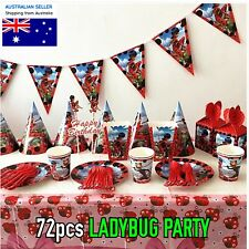72 x MIRACULOUS LADYBUG PARTY SUPPLIES fo 10 kids plates cups straws spoon 🎈